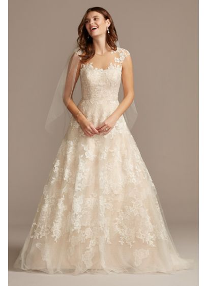 As Is Floral Applique Tulle Wedding Dress - Embroidered floral applique frames the illusion neckline and