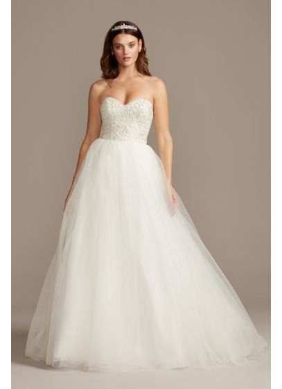 As Is Strapless Floral Bodice Wedding Dress - Pave crystals paired with clear and iridescent beads