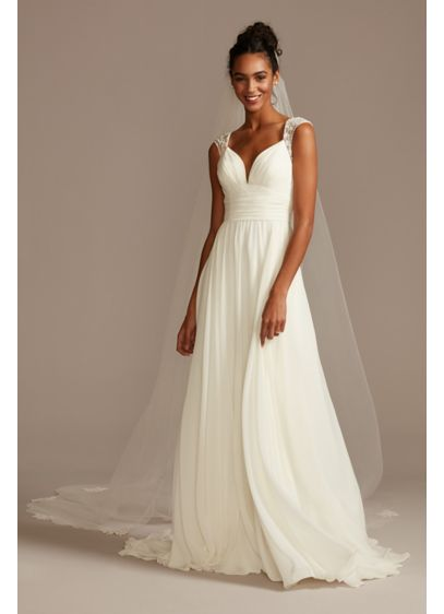 As Is Beaded Keyhole Back Chiffon Wedding Dress - This chiffon wedding dress updates a classic A-line