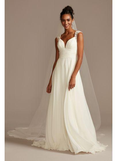 As Is Beaded Keyhole Back Chiffon Wedding Dress - This chiffon wedding dress updates a classic A-line