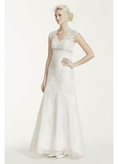 As-Is Cap Sleeve Lace Over Satin Illusion Gown - Romantic and feminine, this A-line gown mixes subtle