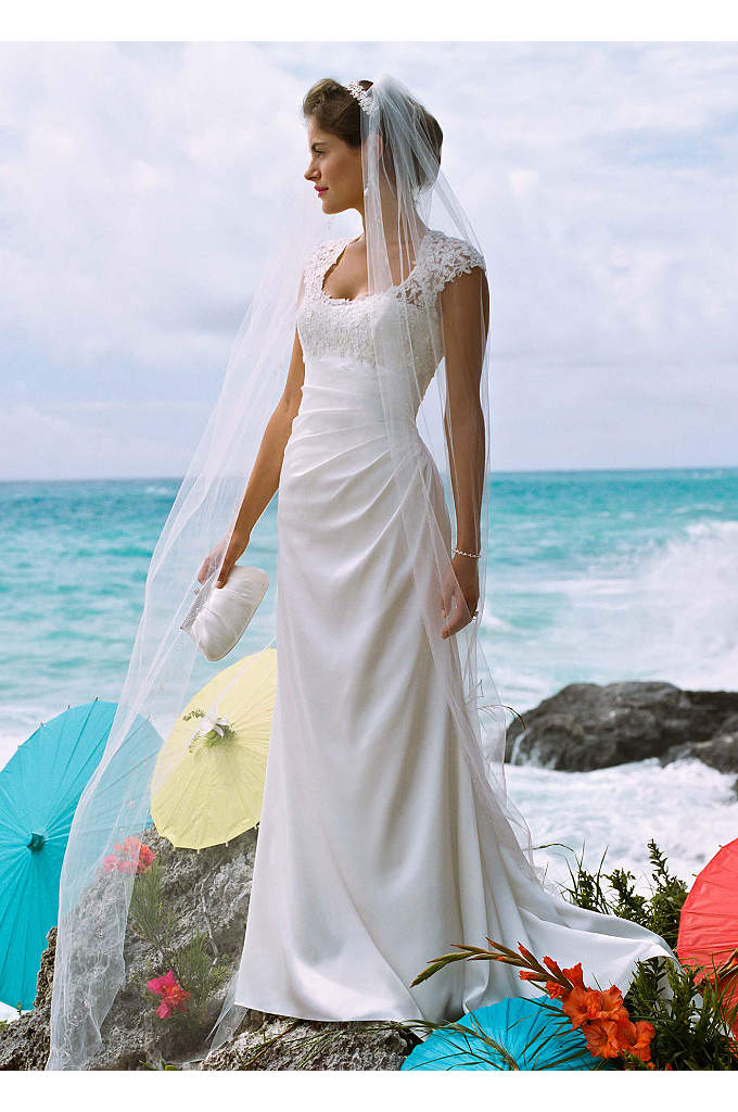 Slim Charmeuse Gown with Lace Keyhole Back - Turn heads as you walk down the aisle