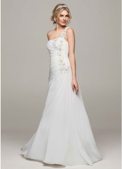 908cbc45543c1 As-Is One Shoulder Chiffon Ruched Wedding Dress | David's Bridal