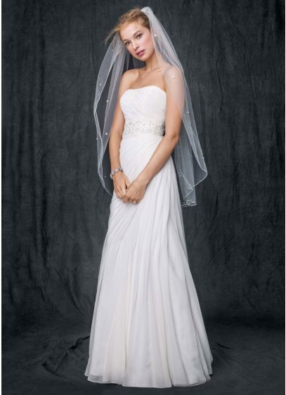 Crinkle Chiffon Gown with Asymmetrical Draping - Stunningly simple and elegant, this crinkle chiffon wedding