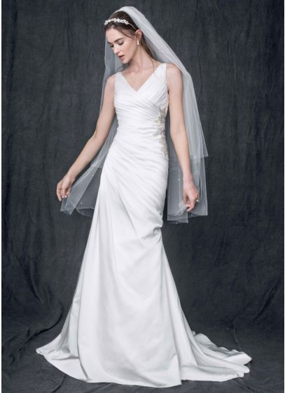 26af1d62066f Strapless Satin V Neck Gown with Ruched Bodice. AI10020539. Long Sheath  Wedding Dress -