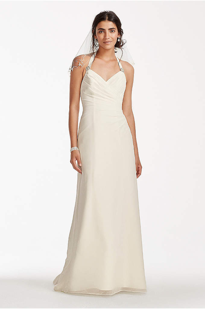 As-Is Chiffon Halter Sheath Wedding Dress - Consider yourself a traditional bride? Look no further!