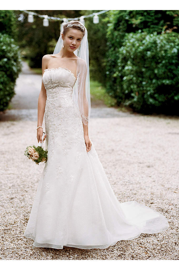 Organza Trumpet Gown with Embellished Lace - Flattering trumpet organza gown is glamorous and sophisticated