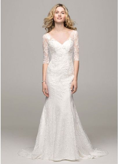3 4 Sleeve All Over Lace Trumpet Gown Ai10030443 Long Mermaid Wedding Dress