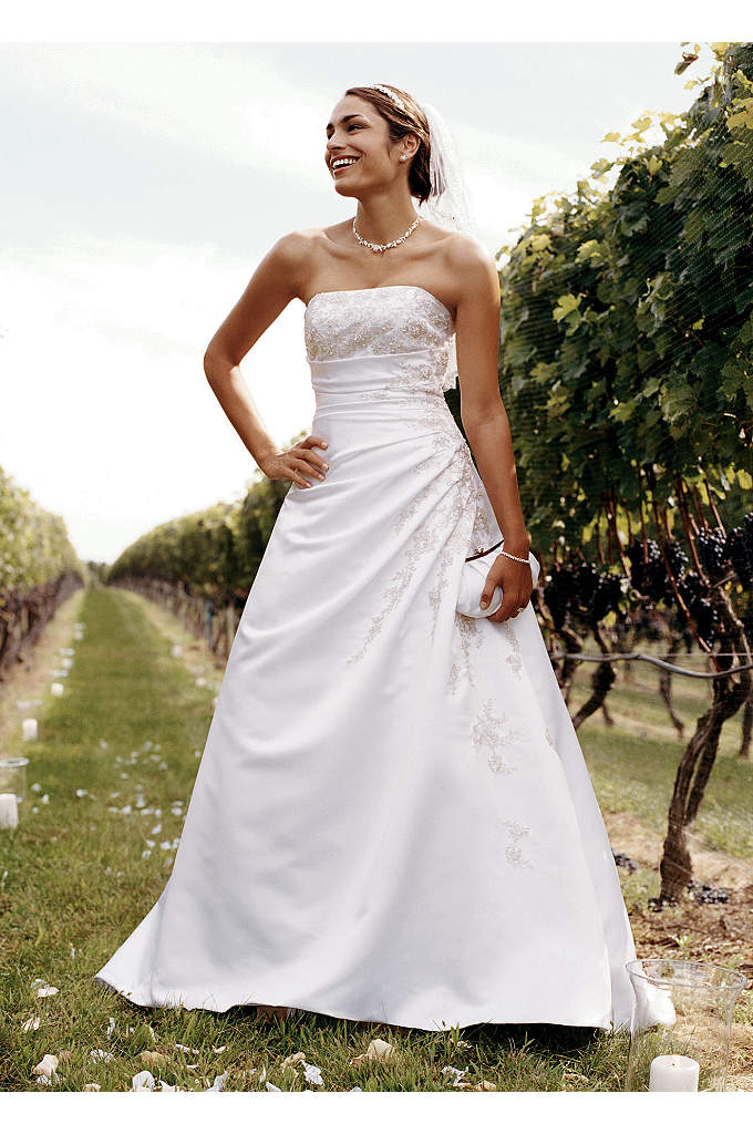 As-Is A-line Side Drape Strapless Gown - A-line side drape strapless gown with beaded lace