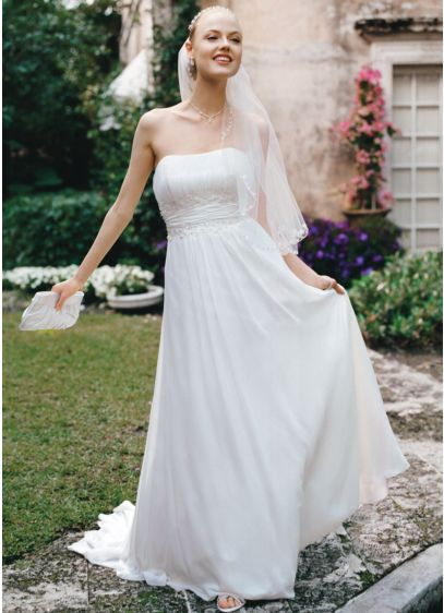 No Train Chiffon Gown with Beaded Lace on - Beautifully detailed, fitted bodice flows into a soft