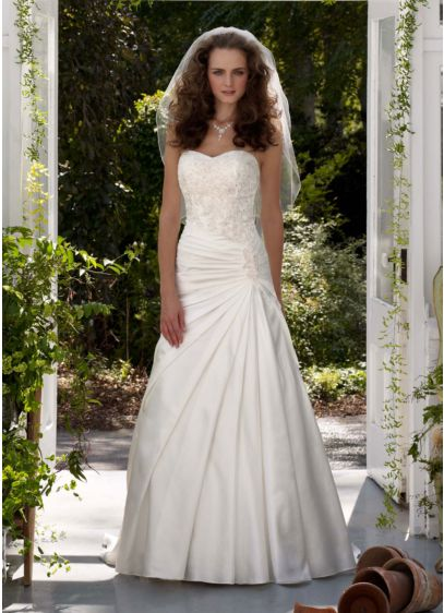 7ee12c5f11bb3 Strapless A-Line Satin Gown with Dropped Waist | David's Bridal