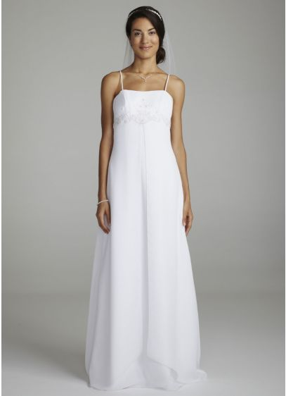 As-Is Spaghetti Strap Chiffon Split Front Gown - This gown is the perfect combination of modern