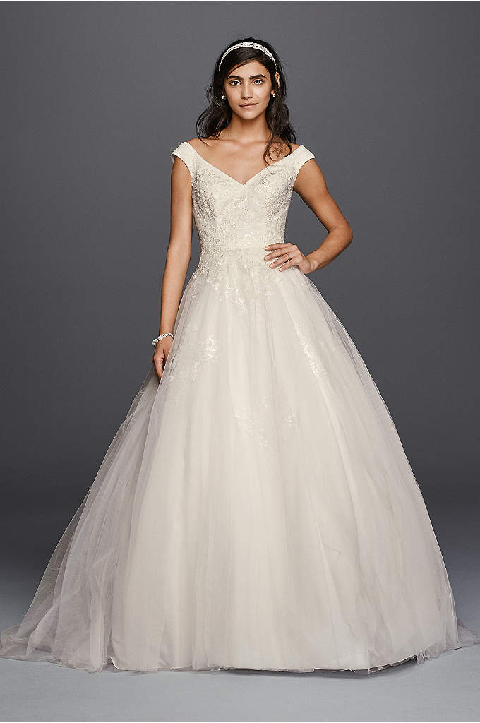 As-Is Jewel Tank Tulle Wedding Dress with Lace - This classic ball gown wedding dress is one