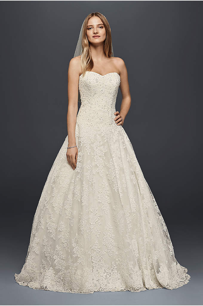 As-Is Allover Beaded Ball Gown Wedding Dress - This lace ball gown is scattered with a