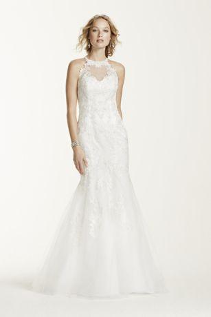 Trumpet Wedding Dress with Illusion Neckline