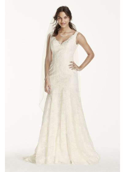 As-Is Lace Wedding Dress with Scalloped V-Neck - Simple yet elegant, this lace trumpet gown is