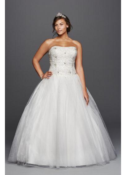 b34098ab81e Jewel Tulle Plus Size Wedding Dress with Beading