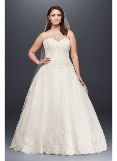 As-Is Lace and Tulle Plus Size Wedding Dress - This romantic plus size ball gown features beaded