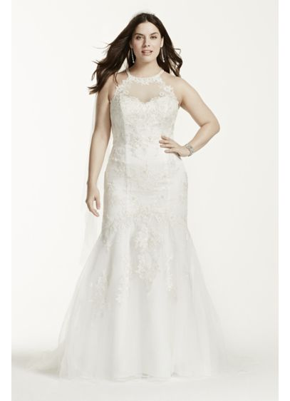 Jewel Illusion Halter Lace Plus Size Wedding Dress | David\'s Bridal