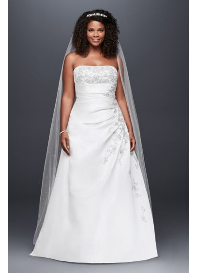 As Is A-Line Side Drape Strapless Plus Gown - A-line side drape strapless gown with beaded lace
