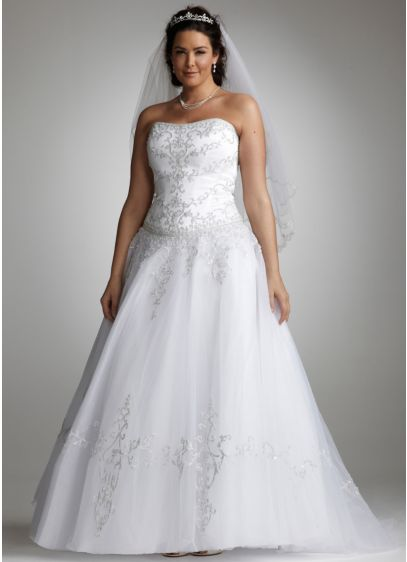 Strapless Tulle Ball Gown with Satin Bodice | David\'s Bridal