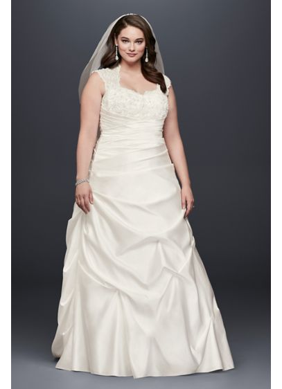As-Is Cap Sleeve Satin A-line Plus Size Wedding - Romantic and luxurious, this satin cap sleeved A-line