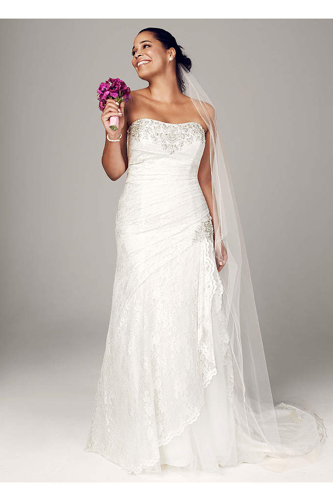Strapless Lace A-line Gown with Side Split - Effortlessly beautiful, this lace gown combines modern trends