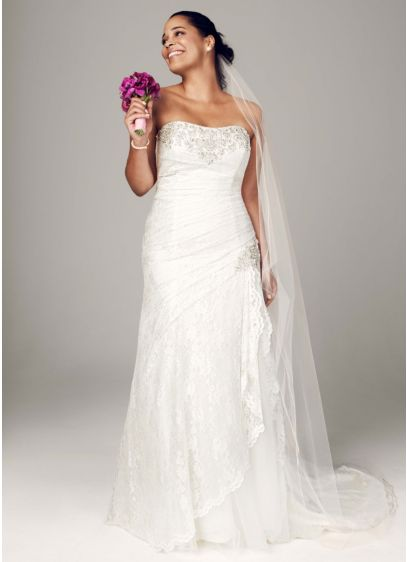 As Is Strapless Lace A-line Plus Gown with - Effortlessly beautiful, this lace gown combines modern trends