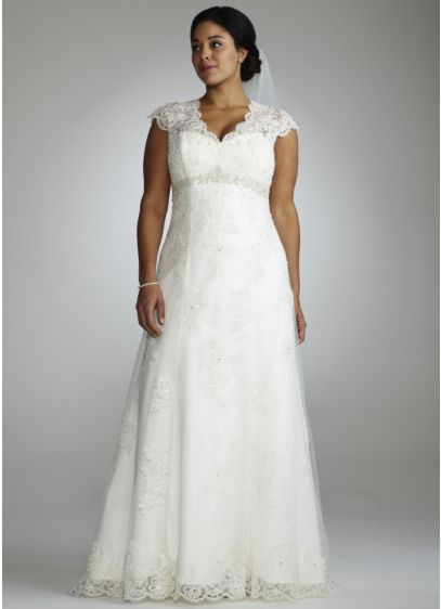 Cap Sleeve Lace Over Satin Gown with Illusion - Romantic and feminine, this A-line gown mixes subtle