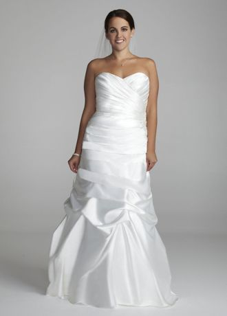 Sweetheart Charmeuse Gown with Pick-Up Skirt | David\'s Bridal