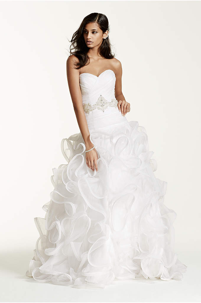 As-Is Plus Size Ruffled Skirt Wedding Gown - Featuring a gracefully ruffled organza ball gown skirt
