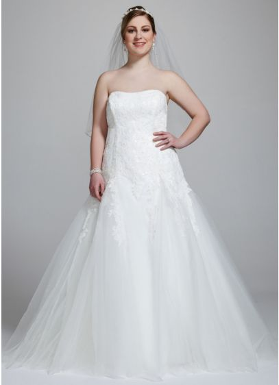 Strapless Tulle Wedding Gown with Beaded Appliques - Featuring exquisite beaded lace appliques, this utterly romantic