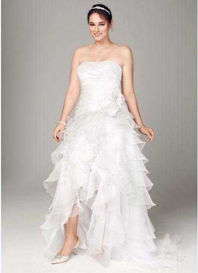 Strapless Taffeta High Low Ruffle Skirt Gown Ai13012607 Short A Line Wedding Dress