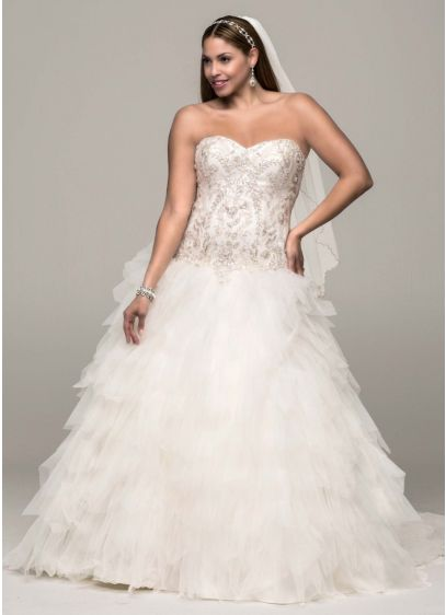 Strapless Tulle Ball Gown with Ruffled Skirt | David\'s Bridal