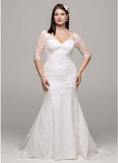 3/4 Sleeve All Over Lace Trumpet Gown | David\'s Bridal