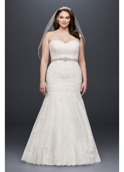 Sweetheart Trumpet Gown with Beaded Sash - Gorgeous plus size lace trumpet gown with chic