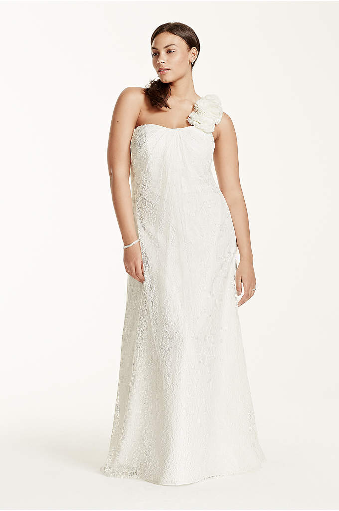 As-Is Plus Size One Shoulder Wedding Dress - A timeless and chic lace sheath gown that