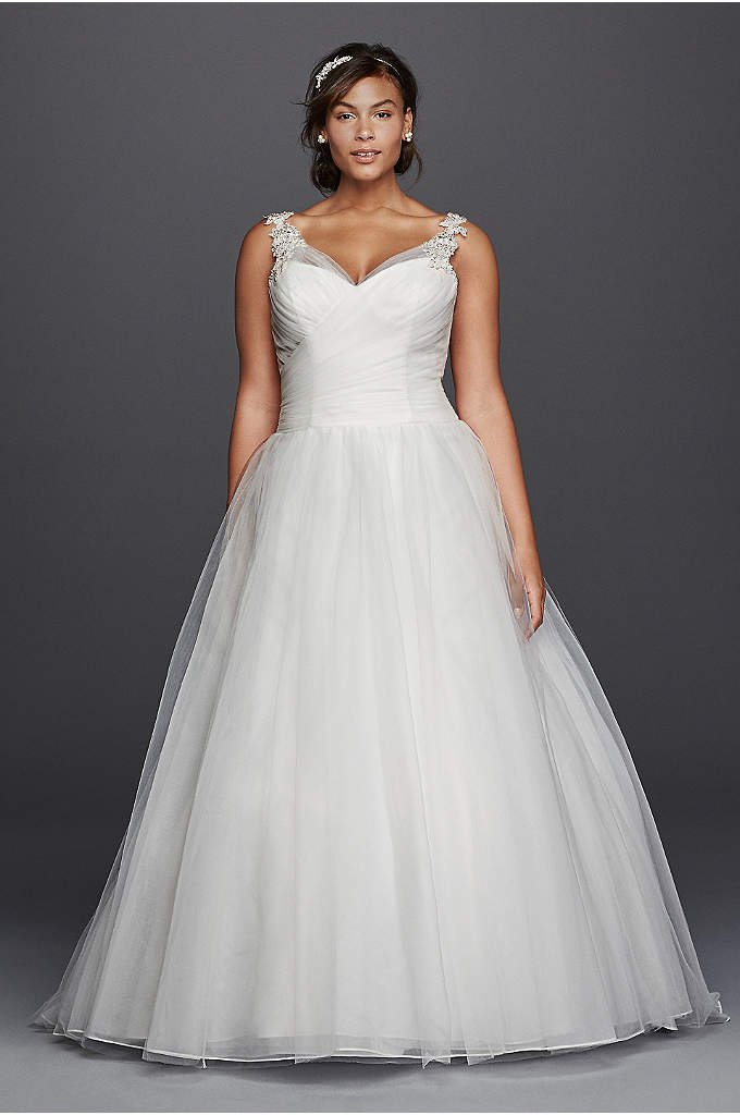 As-Is Plus Size Wedding Dress with Illusion Straps | David\'s Bridal