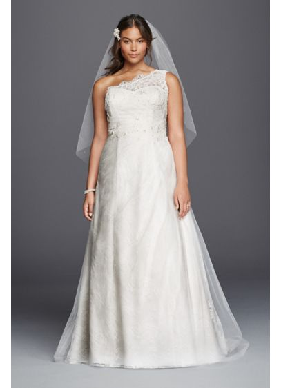 As Is One Shoulder Tulle Plus Size Wedding Dress Davids Bridal