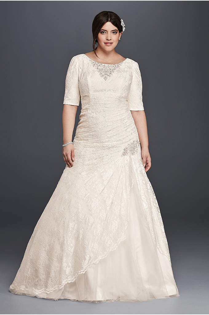 As-Is Plus Size Wedding Dress with 3/4 Sleeves - Slip an elegant comb in your hair and