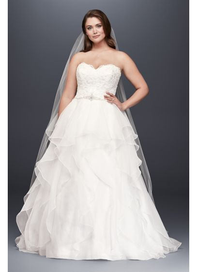 As-Is Lace and Organza Plus Size Wedding Dress - With a wedding dress this romantic, only a