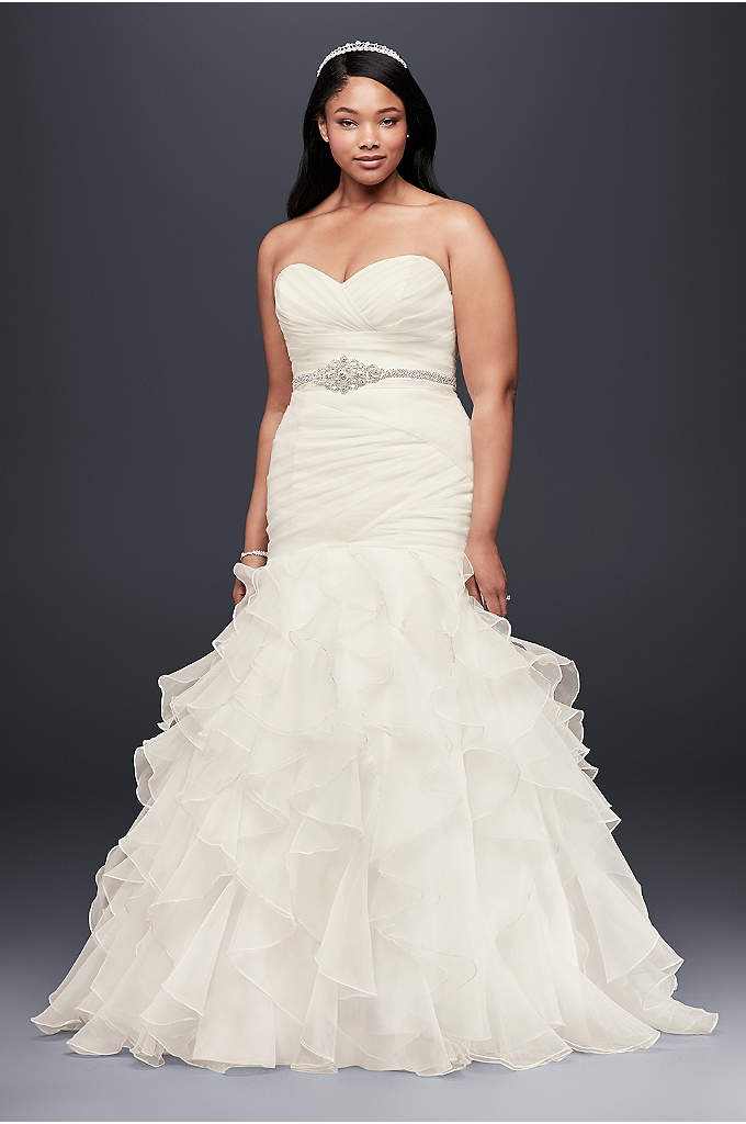 As-Is Ruffled Organza Plus Size Wedding Dress - Precise pleats and romantic ruffles offer a contrast