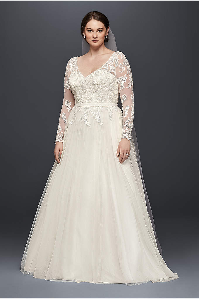 As-Is Plus Size Long Sleeve Wedding Dress - Illusion mesh sleeves strike a lovely balance between
