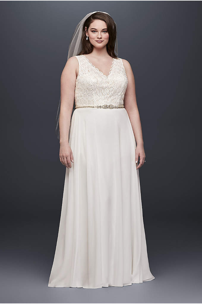 As-Is Scalloped Lace Plus Size Wedding Dres - Beaded lace scallops add dreamy detail to the