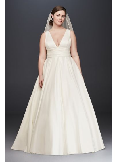 As-Is Satin Cummerbund Plus Size Wedding Dress - A traditional wedding dress with just a hint