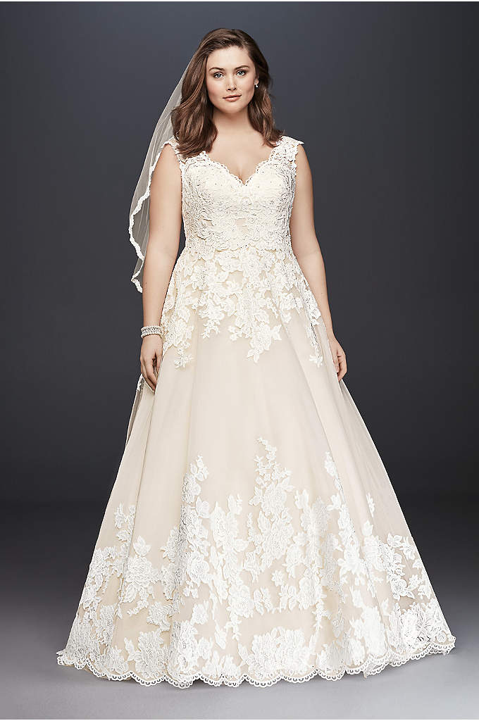 As-Is Scalloped Lace Plus Size Wedding Dress - Princess dreams come true in a traditional ball