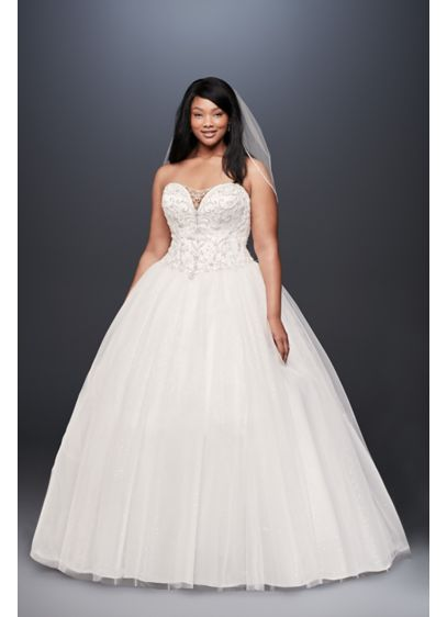 As-Is Illusion Plus Size Ball Gown Wedding - If a bit of sparkle on this plunging,
