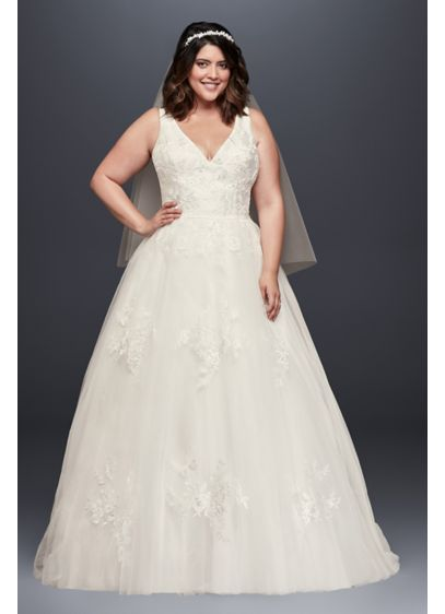 As-Is Mikado and Tulle Plus Size Ball Gown - A dream of a wedding dress! This V-neck
