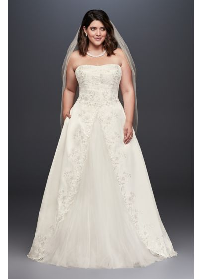 As-Is Embroidered Satin Plus Size Wedding Dress - A straight neckline gives this strapless plus-size A-line