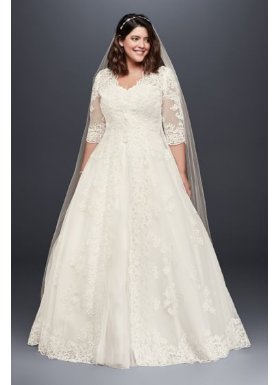 As-Is Organza Plus Size Wedding Dress with Jacket - This gorgeous plus-size ball gown features a lace-appliqued
